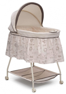 Delta Children Deluxe Sweet Beginnings Bedside Bassinet - Portable Crib with Lights and Sounds, Playtime Jungle