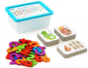 LIKEE Alphabet Number Flash Cards Wooden Letter Puzzle ABC Sight Words Matching Games